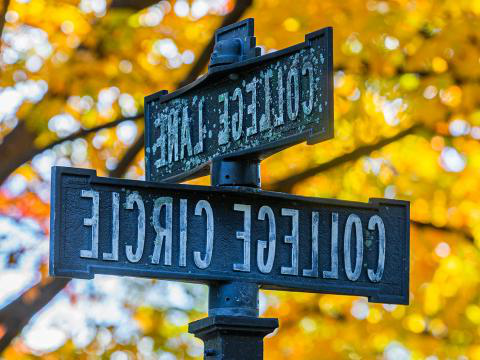 College Lane street sign in front of fall foliage