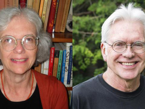 Rob Haley in front of a tree and Margaret Schaus in front of a bookshelf; both are smiling.