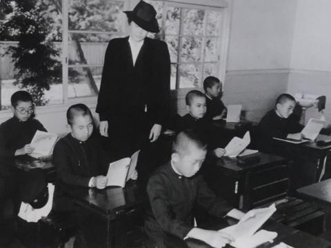 Elizabeth Gray Vining and Crown Prince Akihito's class, 1946.